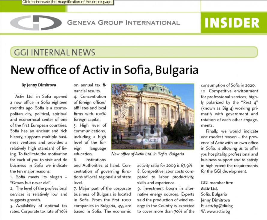 GGI Internal News - New office of Activ in Sofia, Bulgaria